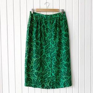 Vintage Tropical Leaf Button Front Silk Skirt